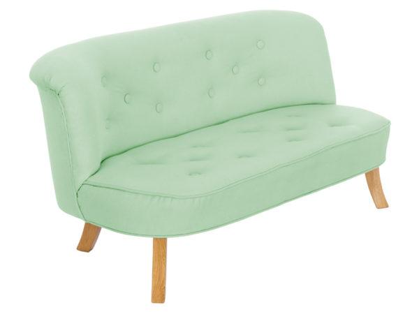 Sofa miętowa do pokoju dziecka. Wykonana z lnu. Idealna sofka dla dziecka