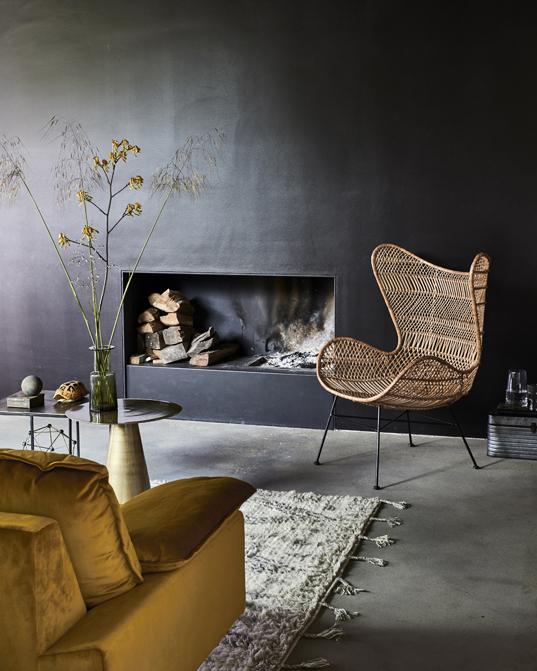 Rattanowy fotel Bohemian Egg HK Living. Fotel ręcznie wykonany z naturalnego rattanu, nowoczesny desigm i komfort