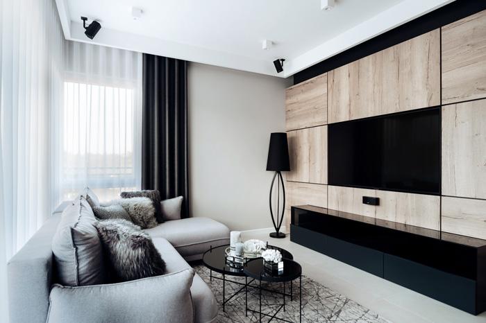 Salon urządzony w nowoczesnym stylu w mieszkaniu dwupokojowym
