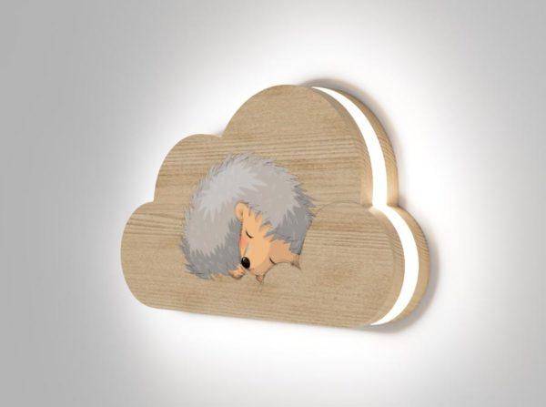 Drewniana lampka chmurka śpiący jeż Kids Lamp