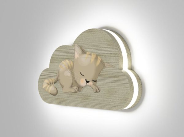Drewniana lampka chmurka śpiący kotek Kids Lamp