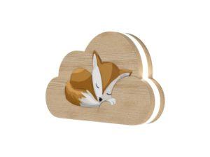Drewniana lampka chmurka śpiący lis Kids Lamp