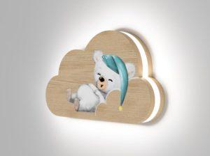 Drewniana lampka chmurka śpiący miś Kids Lamp