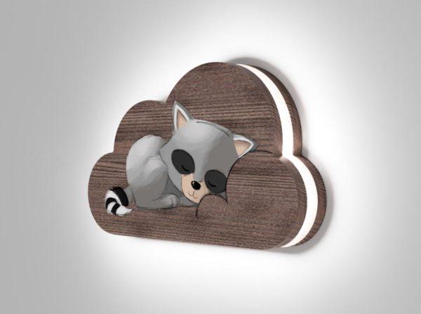 Drewniana lampka chmurka śpiący szop Kids Lamp