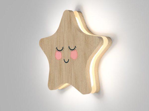 Drewniana lampka gwiazdka Kids Lamp