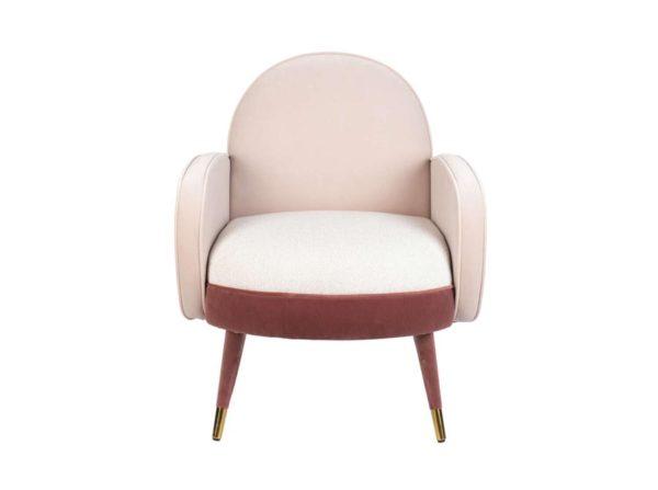 Fotel Sam różowo-biały Zuiver