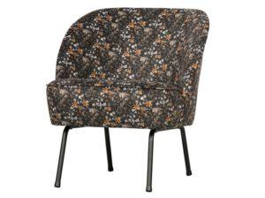 Fotel Vogue velvet aquarel flower czarny Be Pure
