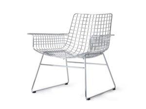 Krzesło lounge metalowe Wire z podłokietnikami chromowane HKliving