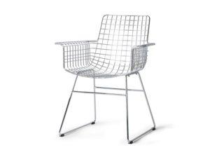 Krzesło metalowe Wire z podłokietnikami chromowane HKliving