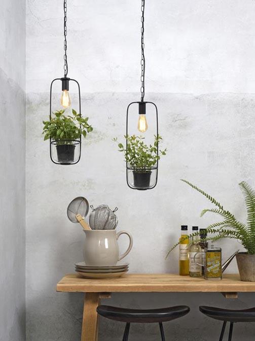 Lampa wisząca, uchwyt na rośliny Florence czarna It's About RoMi