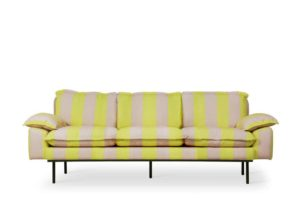 Sofa Retro w paski żółto-cieliste HK Living